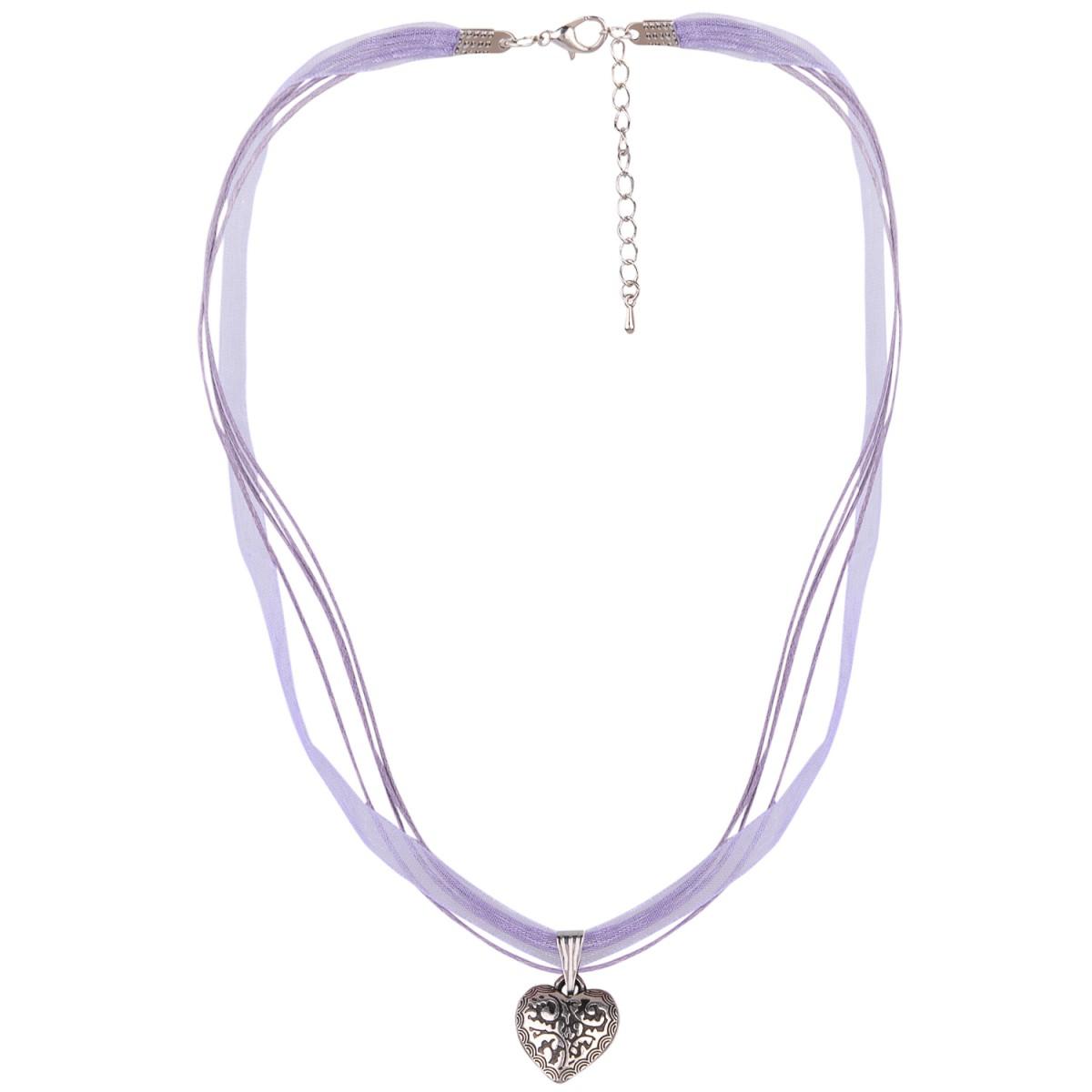 Halskette mit 4 Bändern und Herzanhänger in Lila von Schlick Accessoires günstig online kaufen