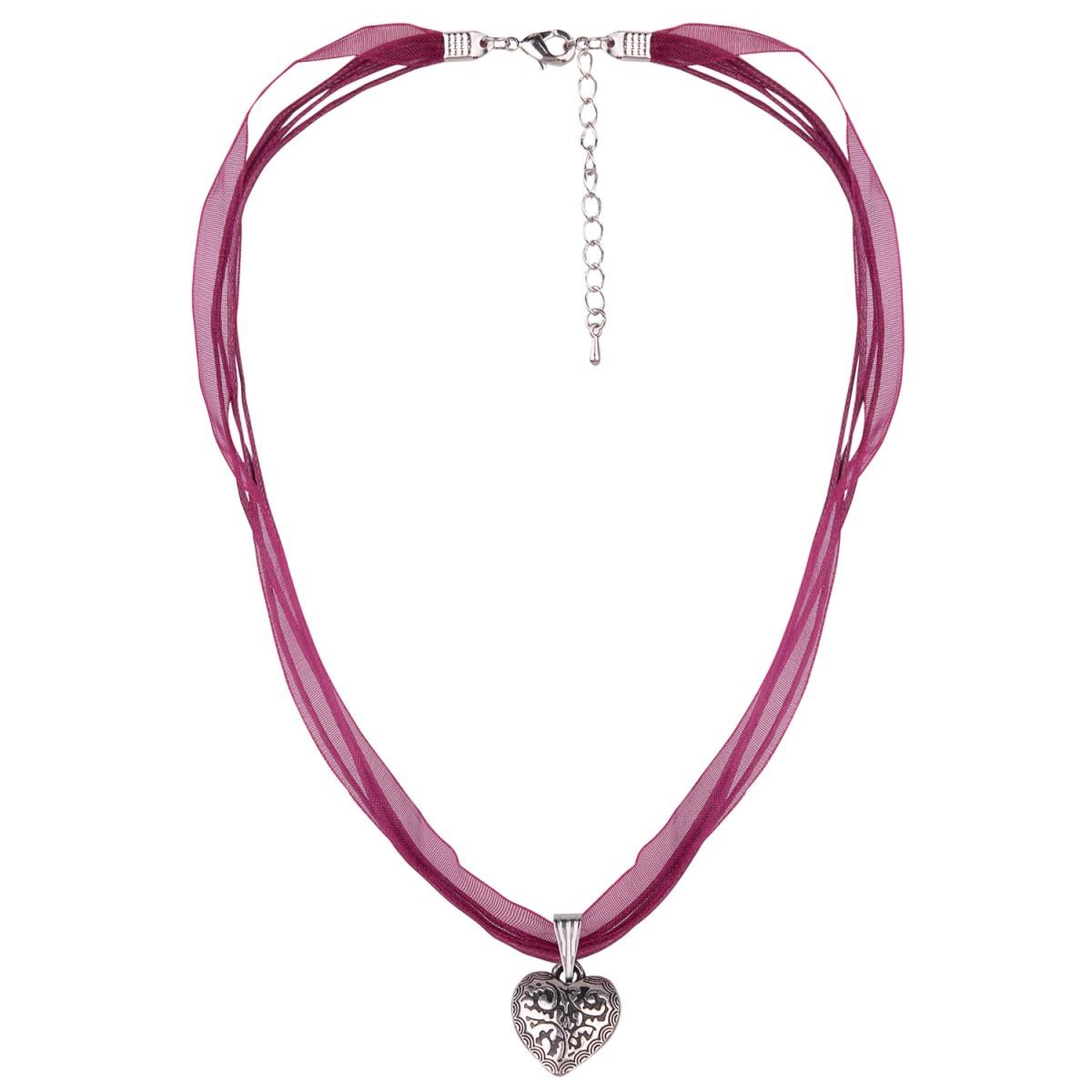 Halskette mit 4 Bändern in Weinrot und Herzanhänger von Schlick Accessoires günstig online kaufen