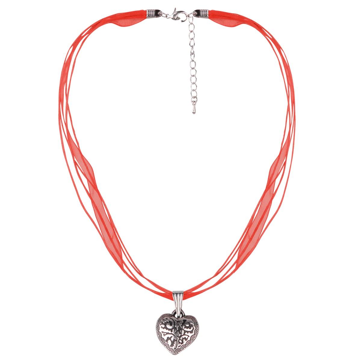 Halskette in Rot mit 4 Bändern und Herzanhänger von Schlick Accessoires