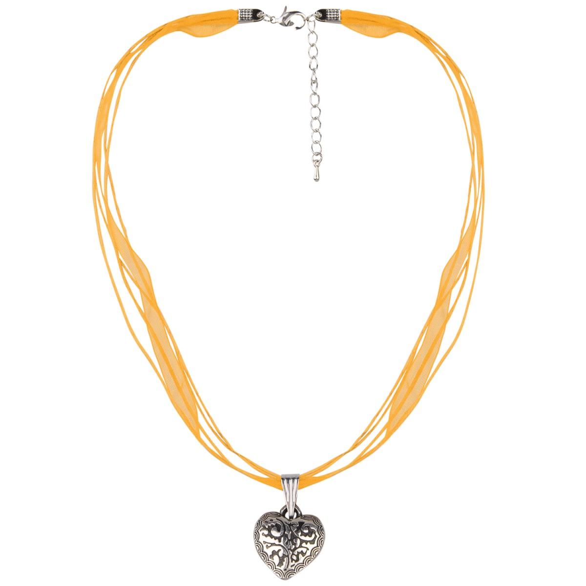 Halskette in Orange mit 4 Bändern und Herzanhänger von Schlick Accessoires günstig online kaufen