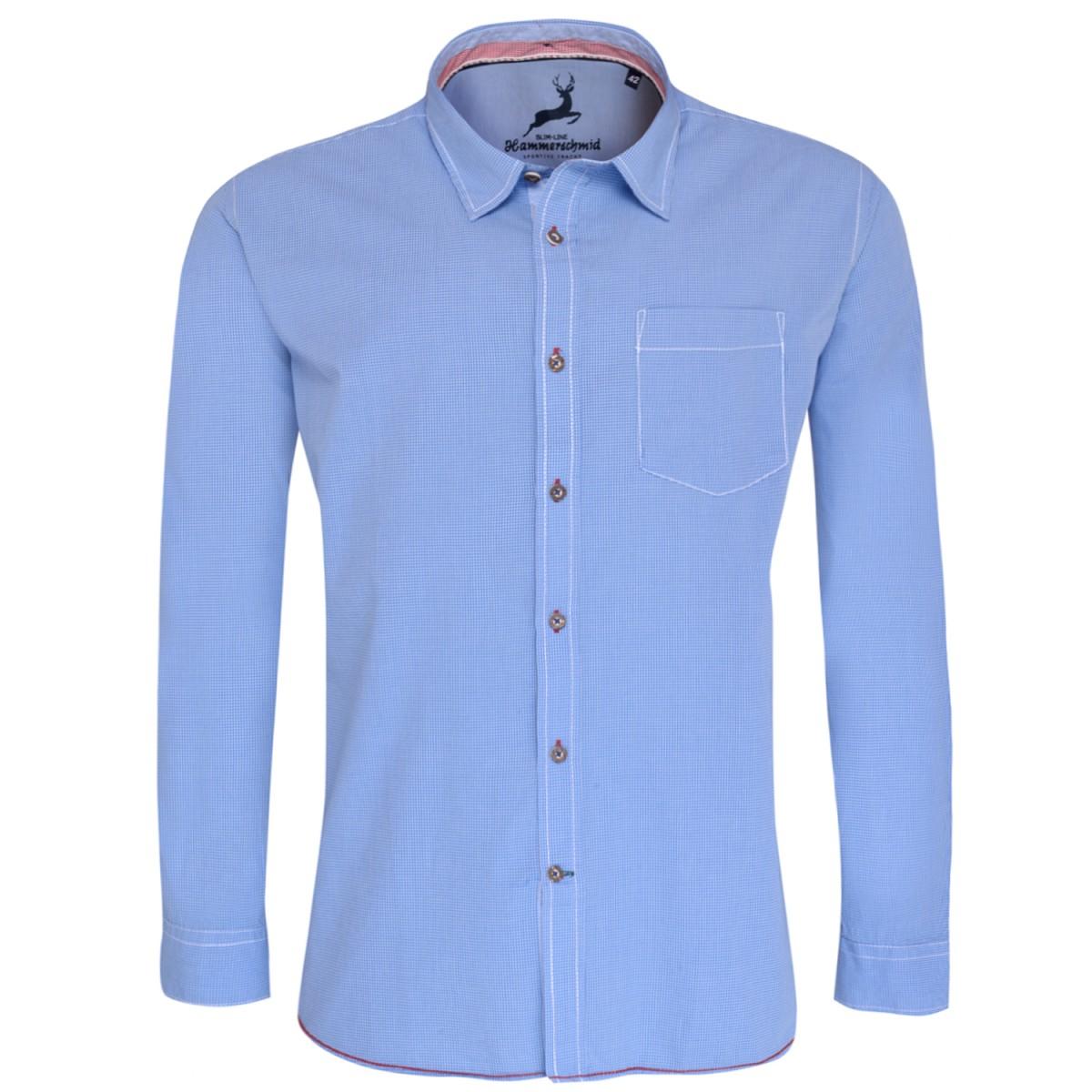 Trachtenhemd Slim Fit in Blau von Hammerschmid günstig online kaufen