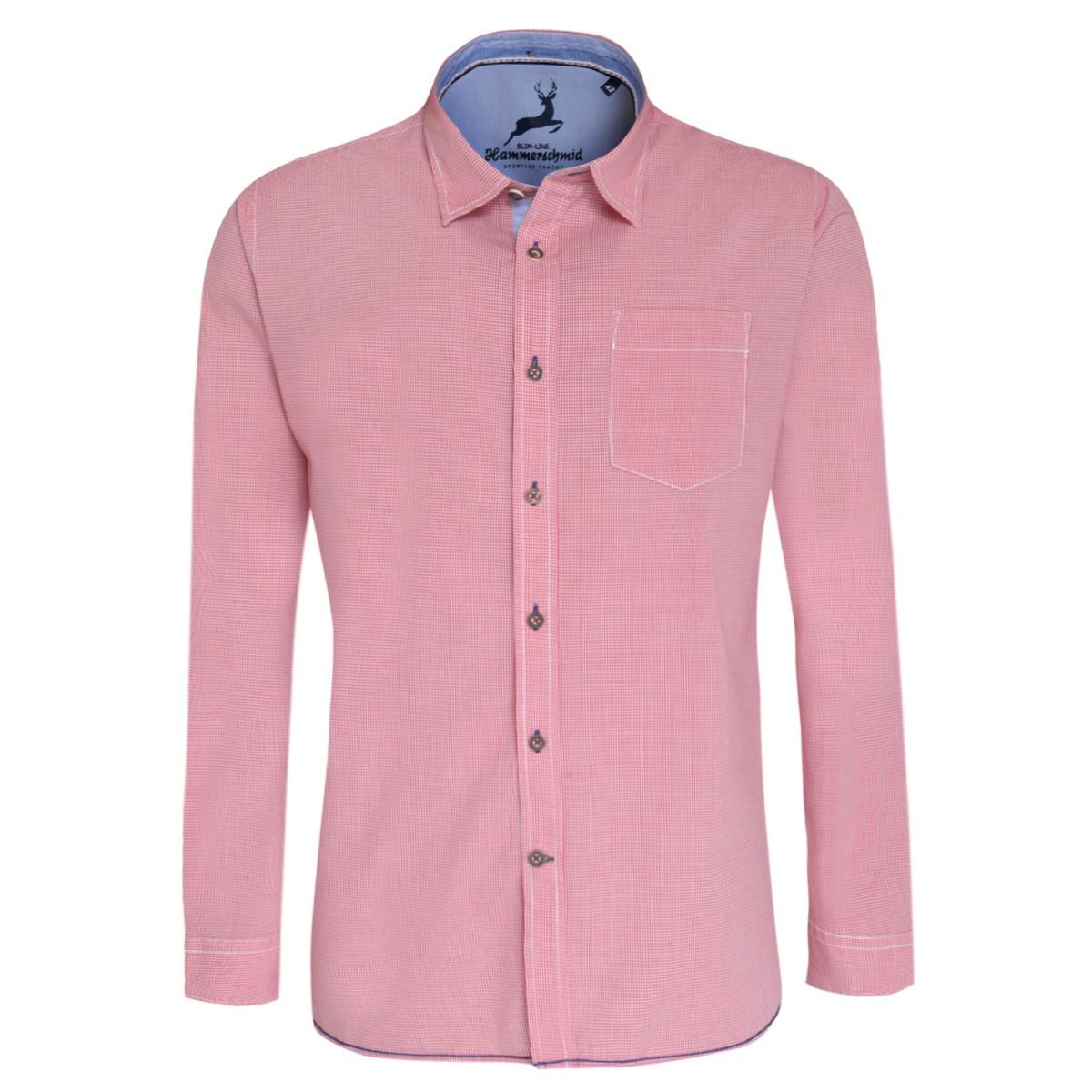 Trachtenhemd Slim Fit in Rot von Hammerschmid günstig online kaufen