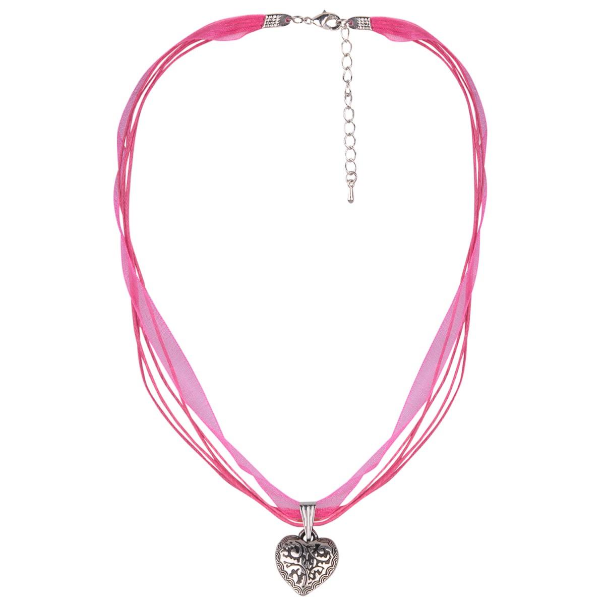 Halskette in Pink mit 4 Bändern und Herzanhänger von Schlick Accessoires günstig online kaufen