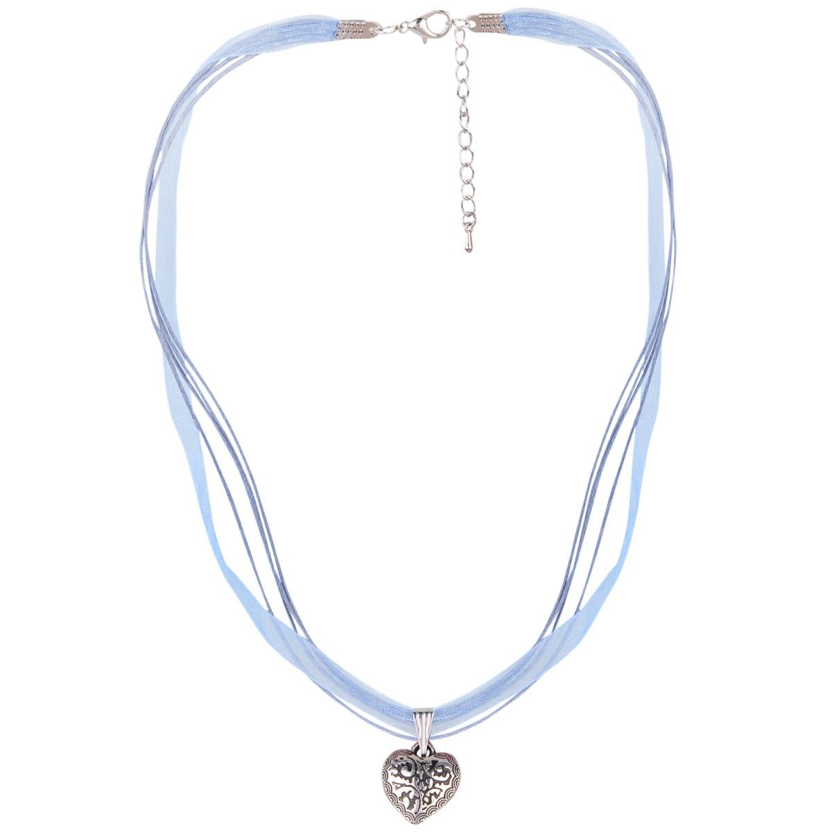 Halskette mit 4 Bändern und Herzanhänger in Hellblau von Schlick Accessoires günstig online kaufen