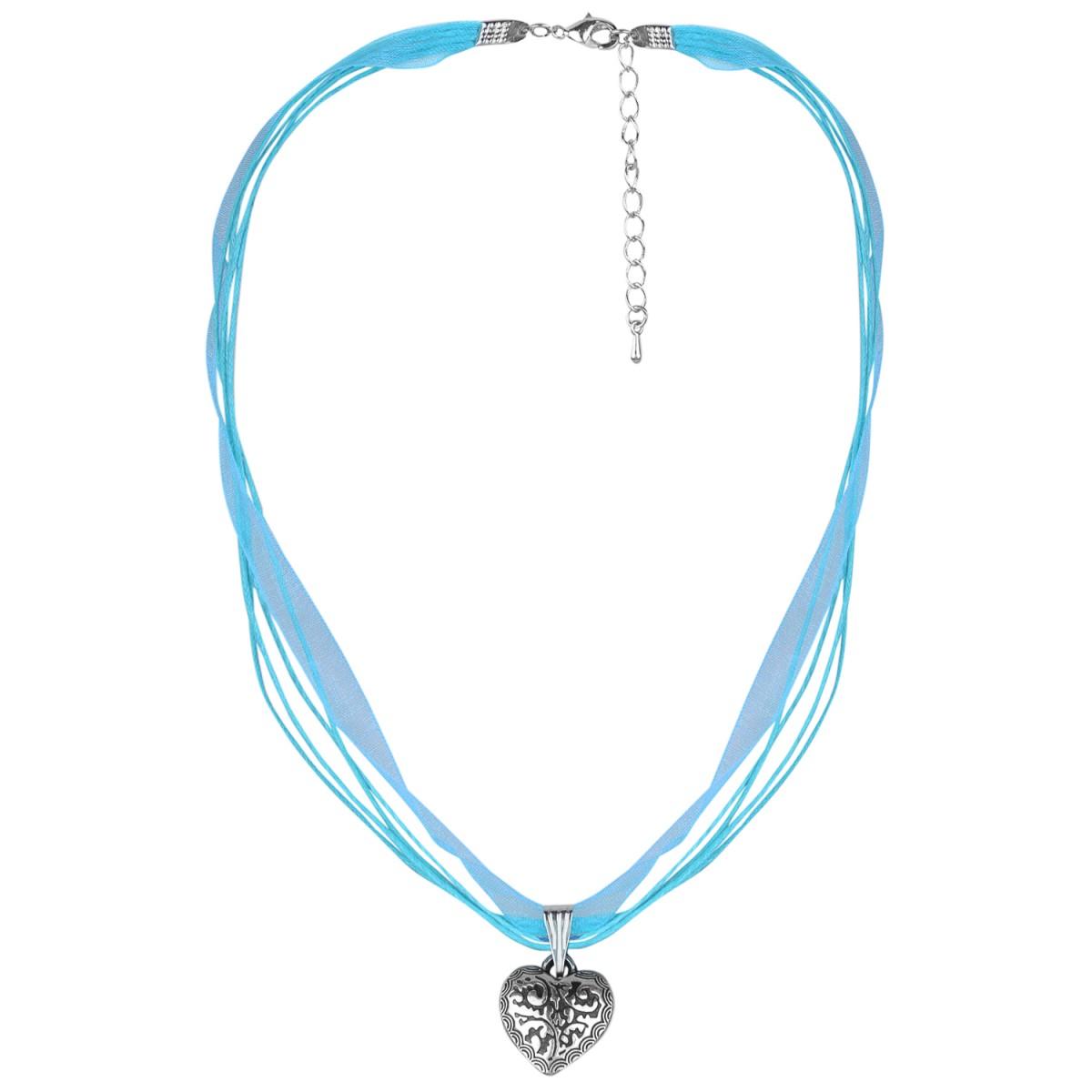 Halskette mit 4 Bändern und Herzanhänger in Türkis von Schlick Accessoires günstig online kaufen