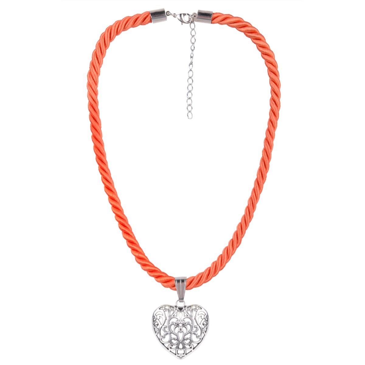 Kordelkette in Orange mit Herzanhänger von Schlick Accessoires günstig online kaufen