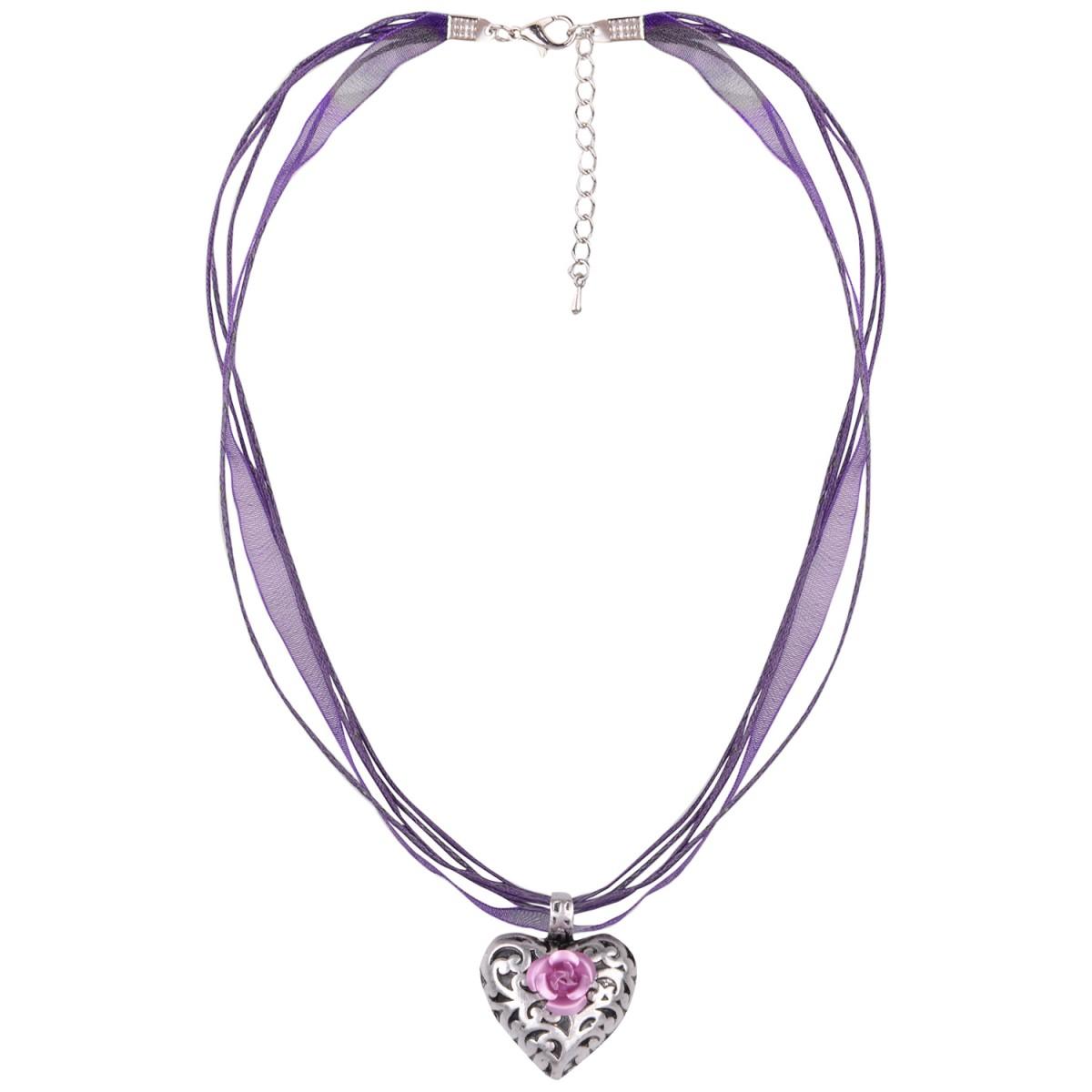 Halskette mit 4 Bändern und Herzanhänger mit Rosenblüte in Lila von Schlick Accessoires günstig online kaufen