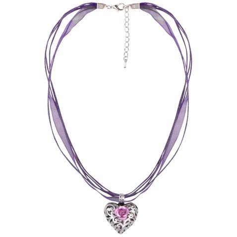 Halskette mit 4 Bändern und Herzanhänger mit Rosenblüte in Lila von Schlick Accessoires
