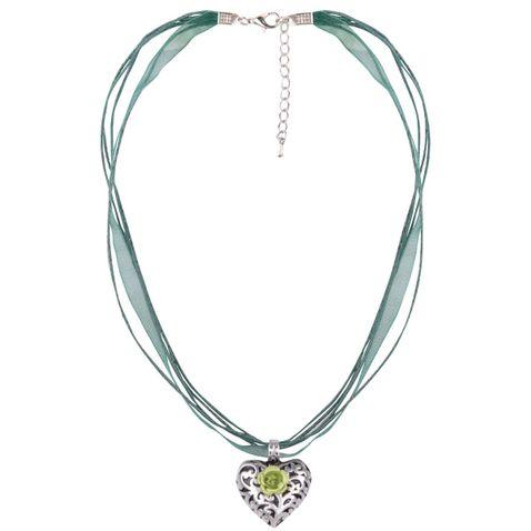 Halskette mit 4 Bändern und Herzanhänger mit Rosenblüte von Schlick Accessoires