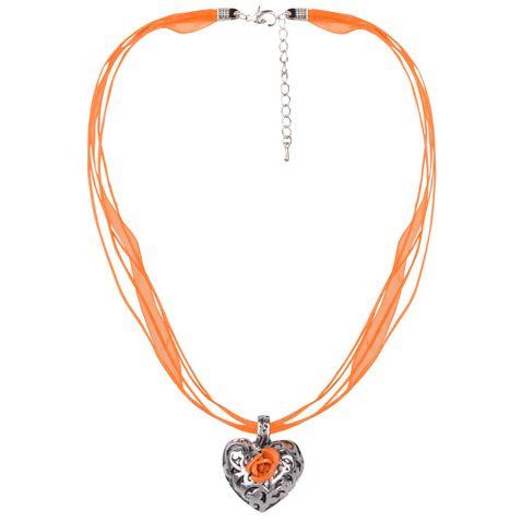 Halskette in Orange mit 4 Bändern und Herzanhänger mit Rosenblüte von Schlick Accessoires