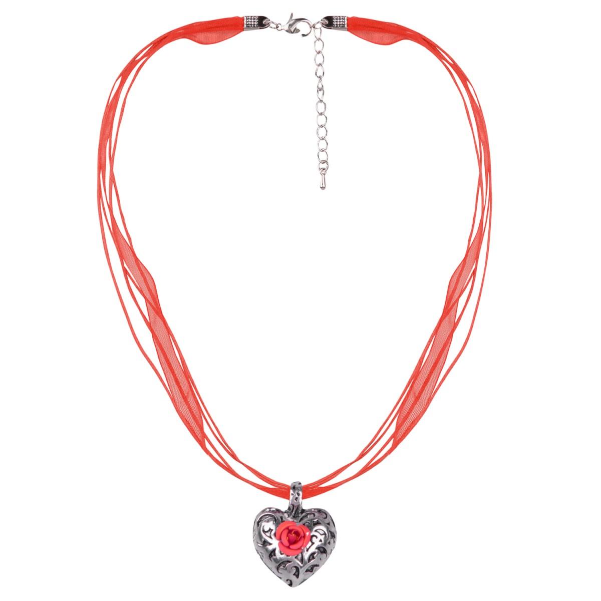 Halskette in Rot mit 4 Bändern und Herzanhänger mit Rosenblüte von Schlick Accessoires günstig online kaufen