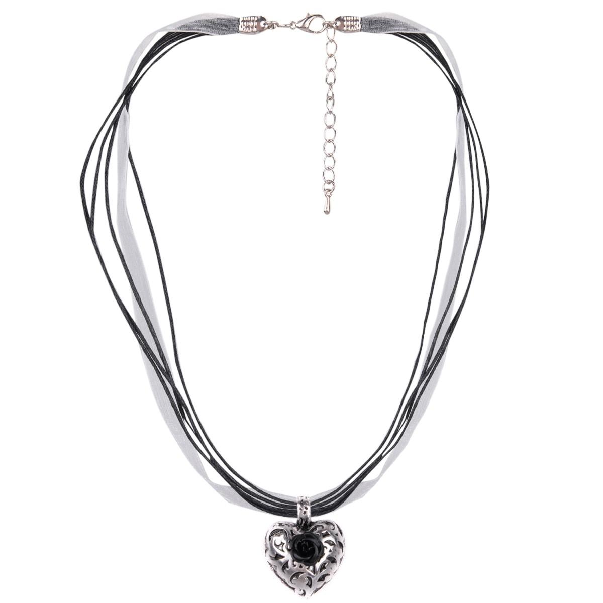 Halskette in Schwarz mit 4 Bändern und Herzanhänger mit Rosenblüte von Schlick Accessoires günstig online kaufen