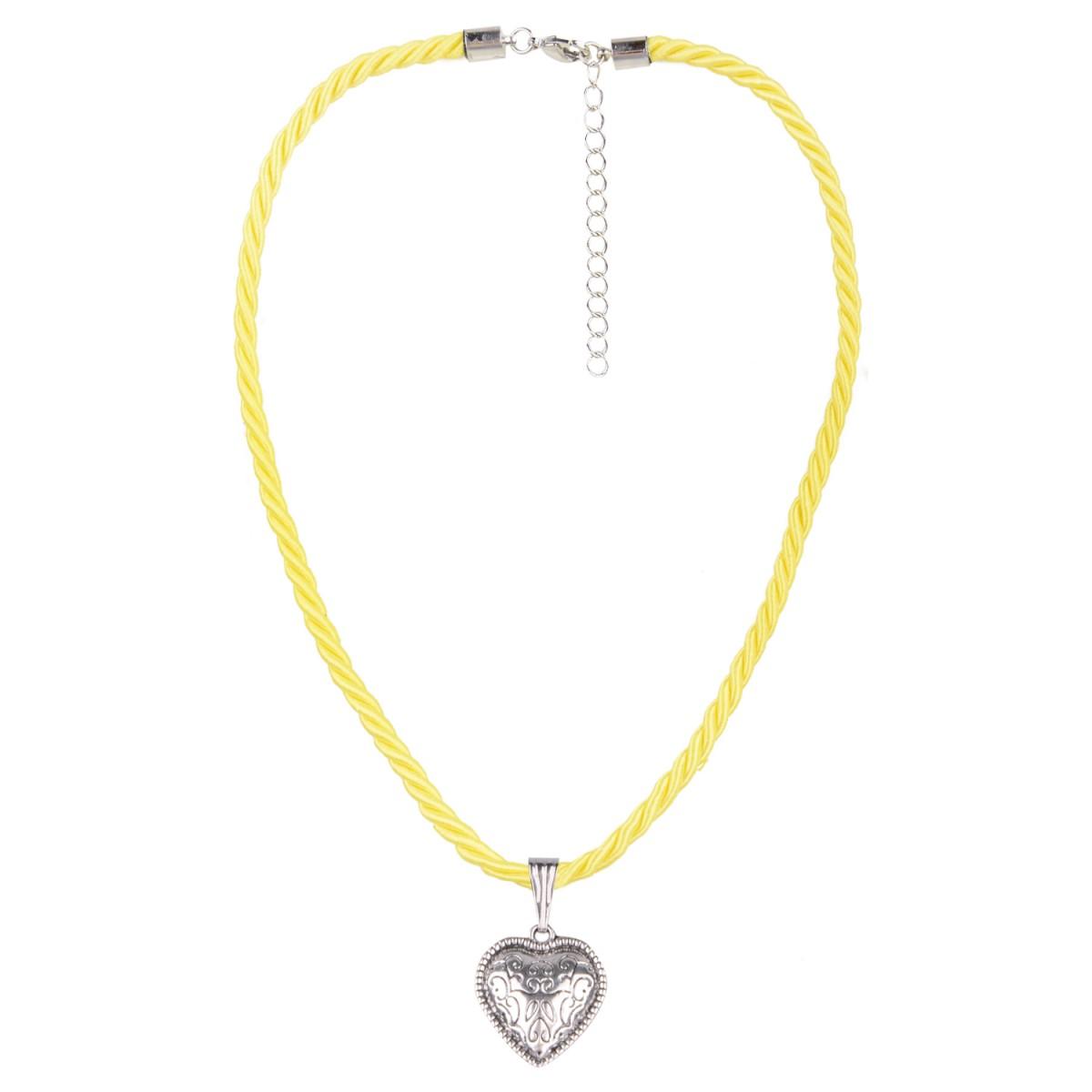 Kordelkette mit kleinem Herz in Gelb von Schlick Accessories günstig online kaufen