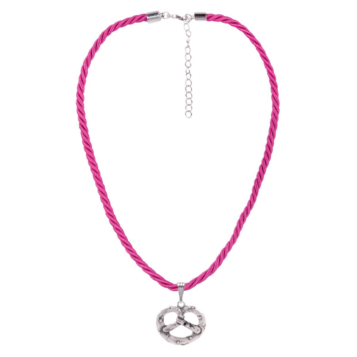 Kordelkette in Pink mit Brezel von Schlick Accessoires günstig online kaufen