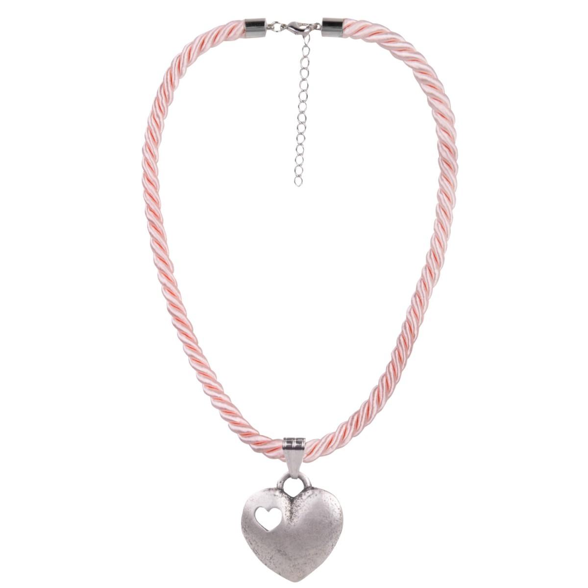 Kordelkette in Rosa mit Herzanhänger von Schlick Accessoires günstig online kaufen