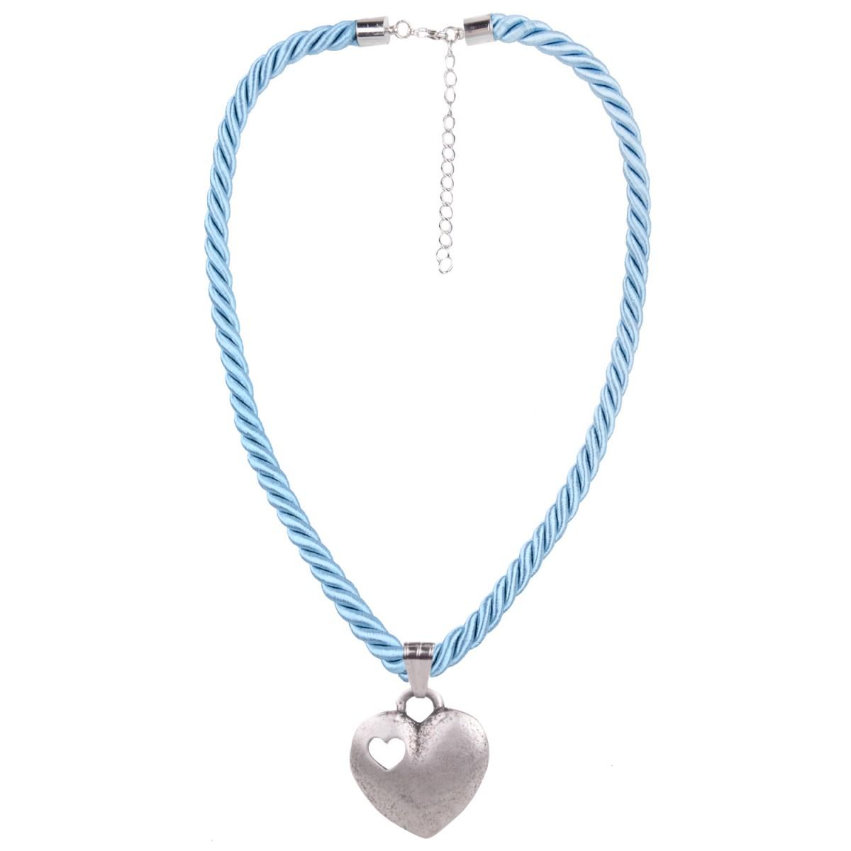 Kordelkette mit Herzanhänger in Hellblau von Schlick Accessoires günstig online kaufen