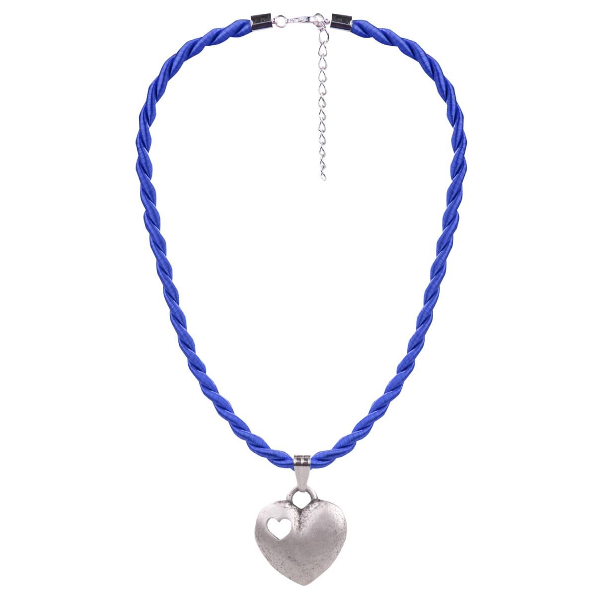 Kordelkette mit Herzanhänger in Blau von Schlick Accessoires günstig online kaufen