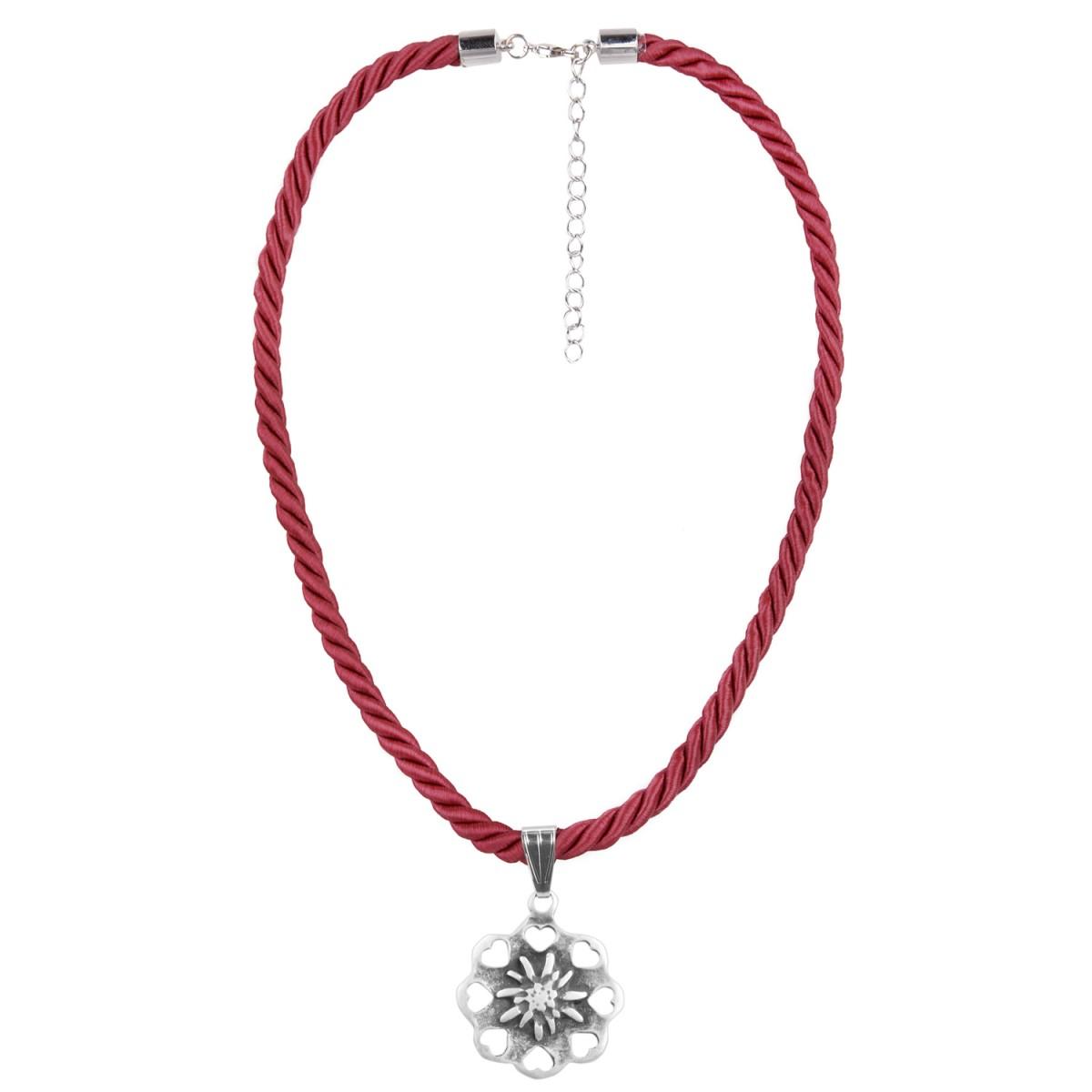 Halskette in Weinrot mit Edelweißanhänger von Schlick Accessoires