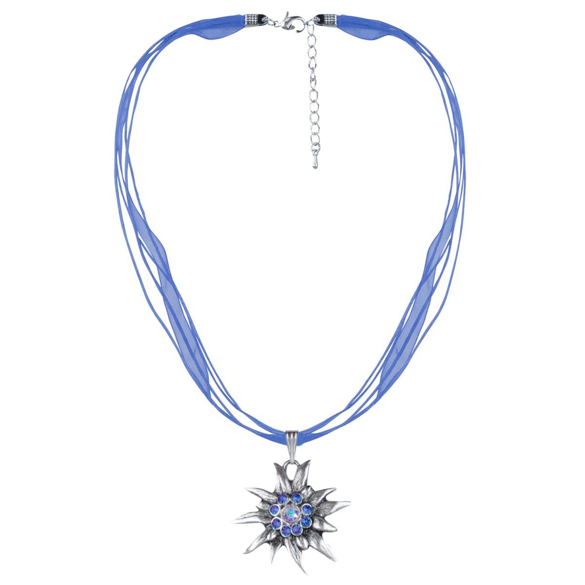 Halskette mit 4 Bändern Edelweiß Anhänger in Blau von Schlick Accessoires