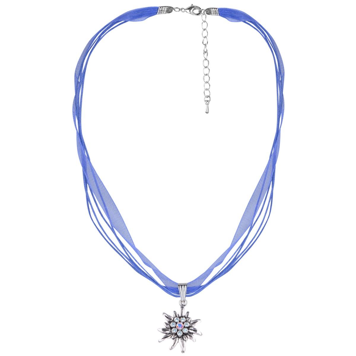 Halskette mit 4 Bändern mit Edelweiß in Blau von Schlick Accessoires günstig online kaufen