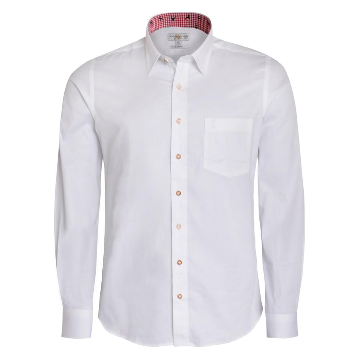 Trachtenhemd Regular Fit zweifarbig in Weiß und Rot von Almsach