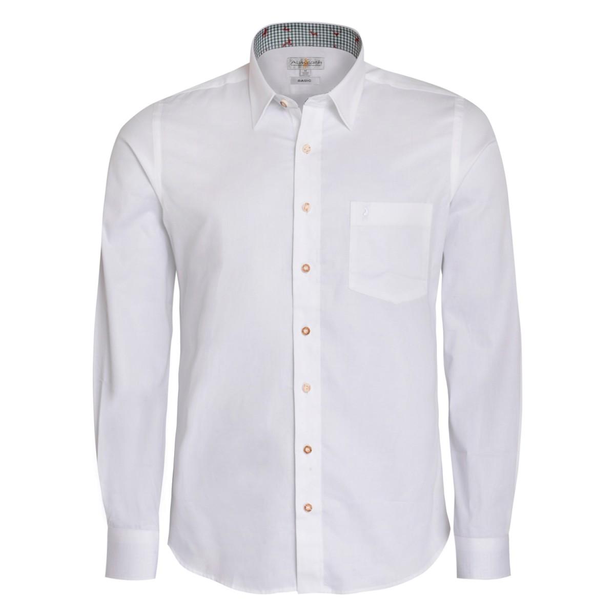 Trachtenhemd Regular Fit zweifarbig in Weiß und Dunkelgrün von Almsach