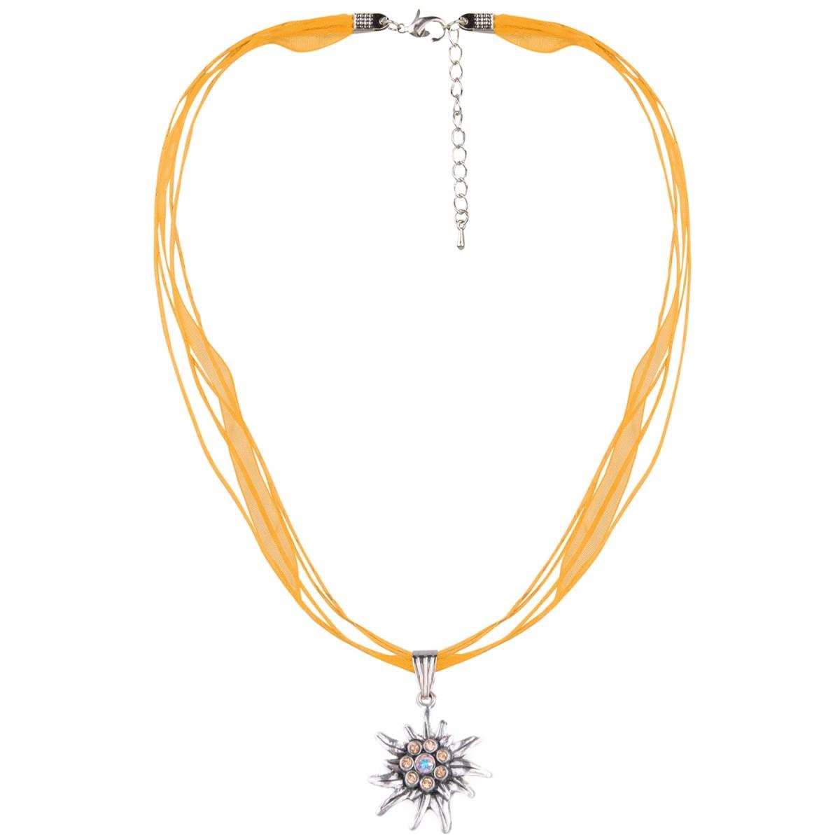 Halskette in Orange mit 4 Bändern mit Edelweiß von Schlick Accessoires günstig online kaufen