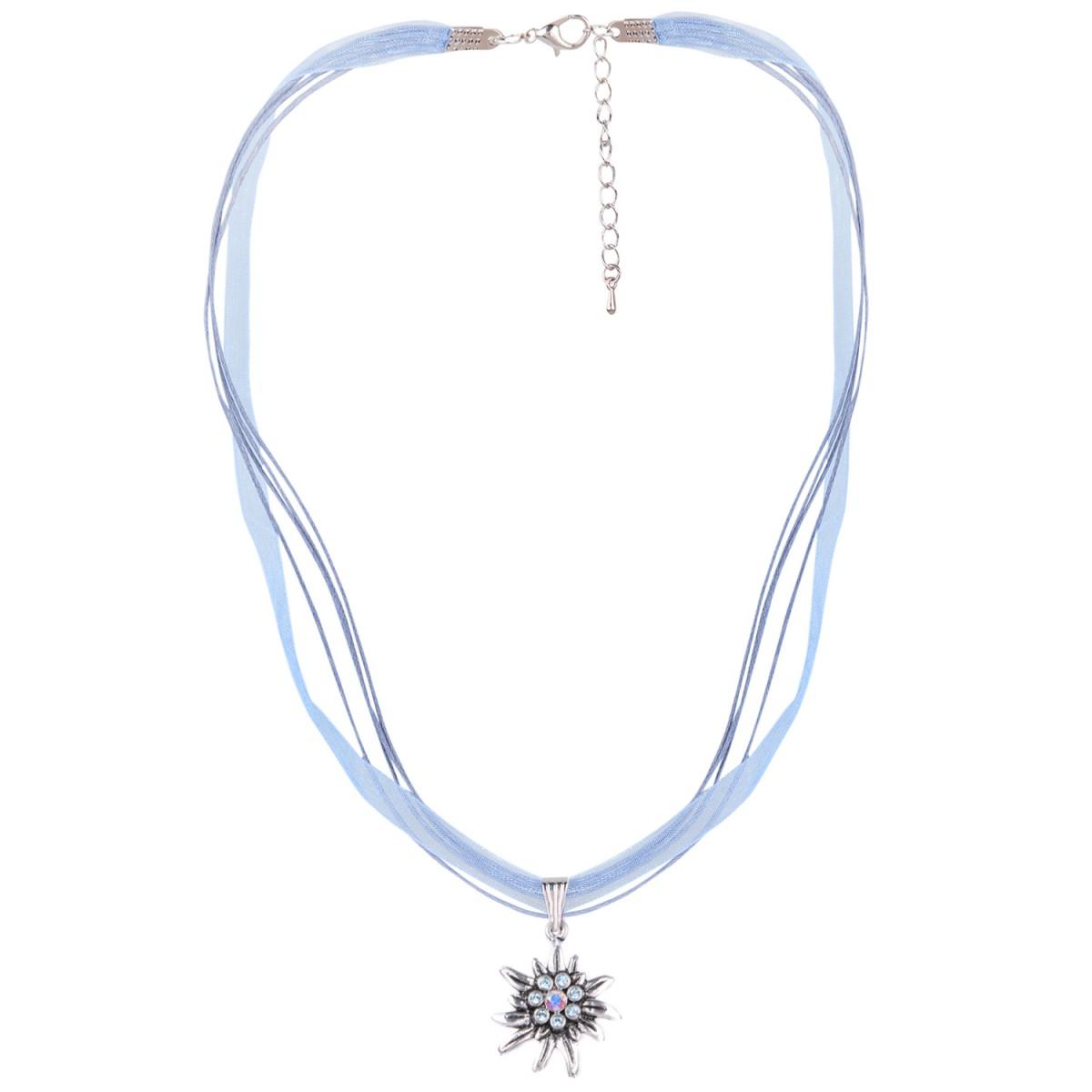 Halskette mit 4 Bändern mit Edelweiß in Hellblau von Schlick Accessoires günstig online kaufen