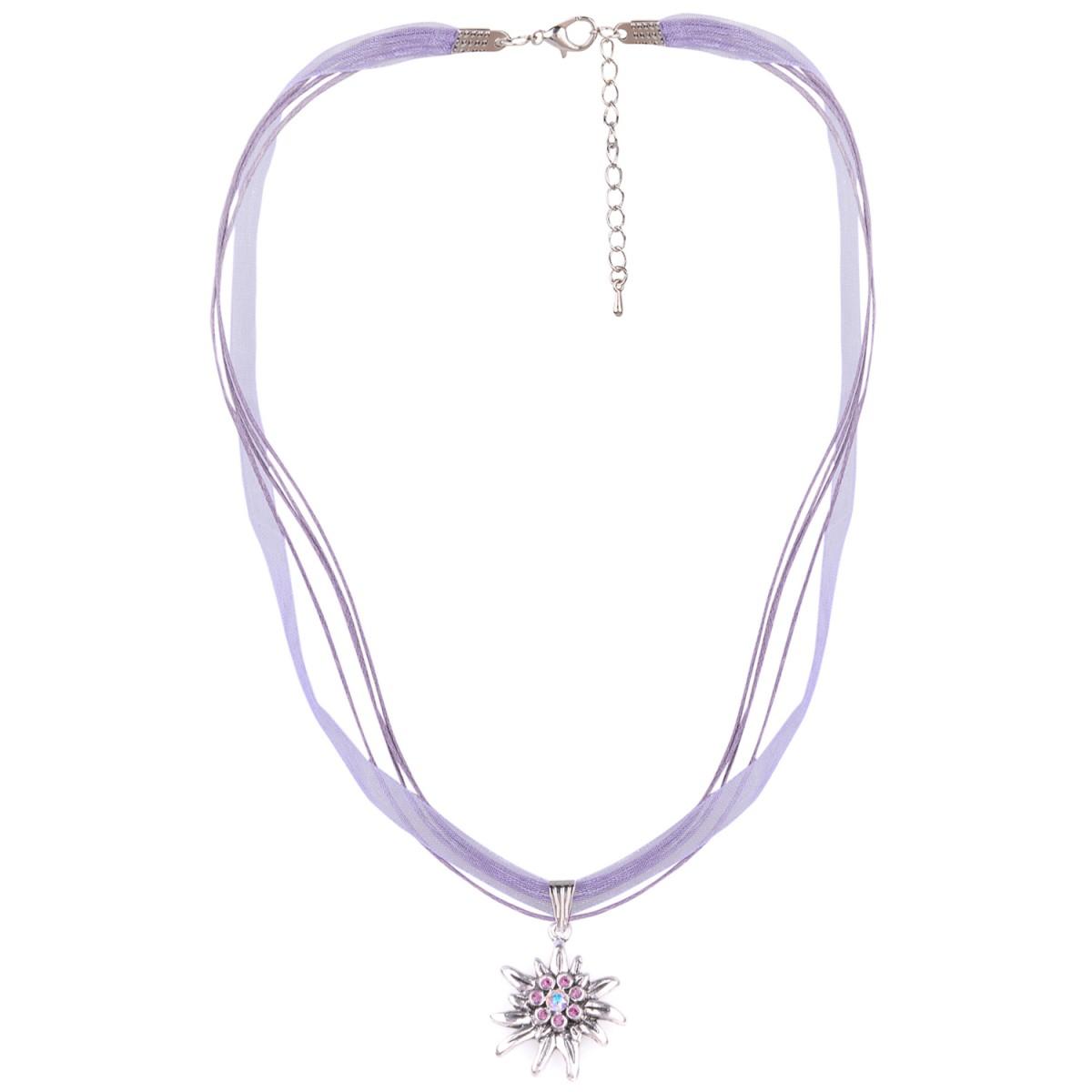 Halskette mit 4 Bändern mit Edelweiß in Lila von Schlick Accessoires günstig online kaufen