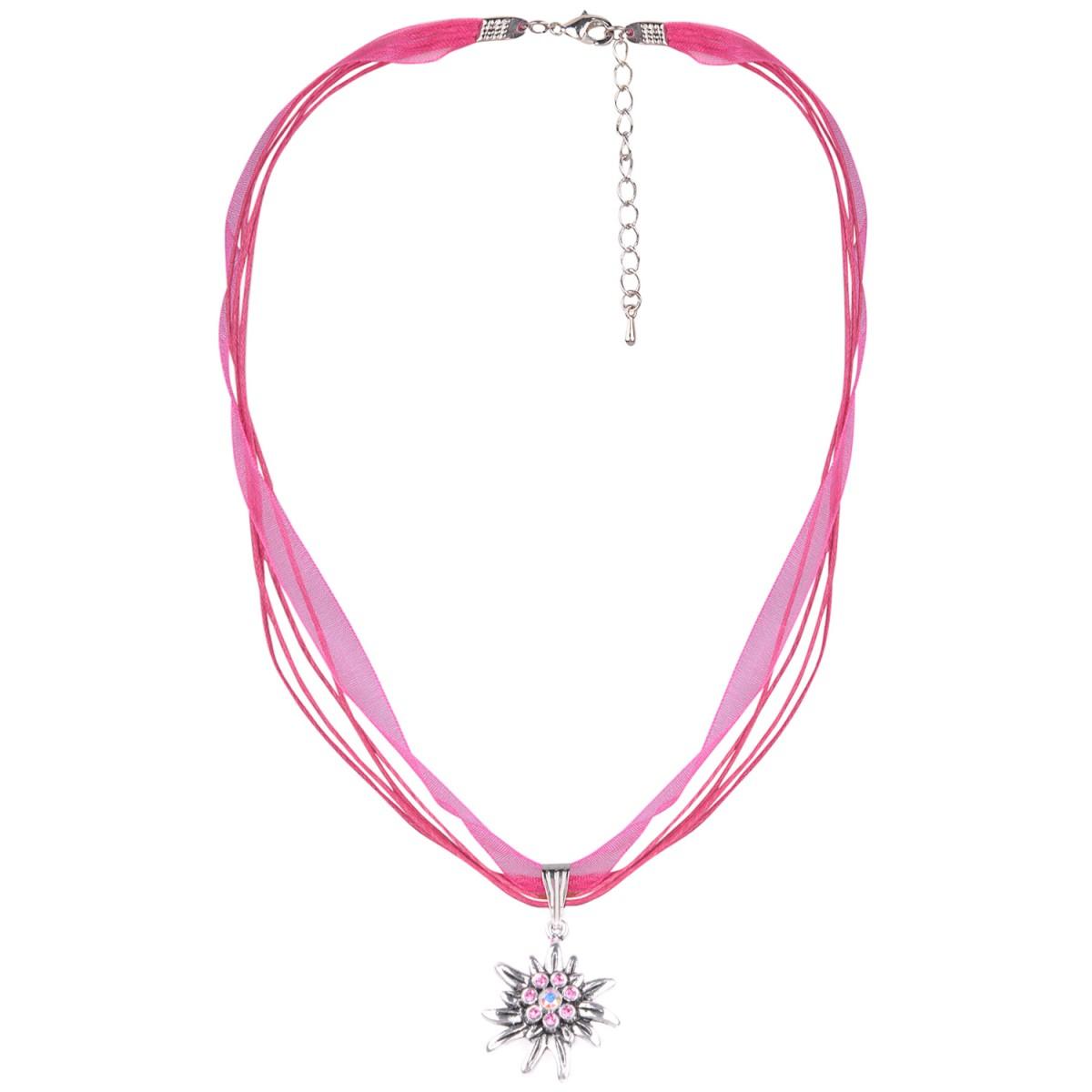 Halskette in Pink mit 4 Bändern mit Edelweiß von Schlick Accessoires günstig online kaufen