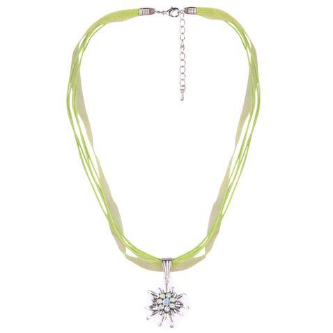 Halskette mit 4 Bändern mit Edelweiß in Hellgrün von Schlick Accessoires