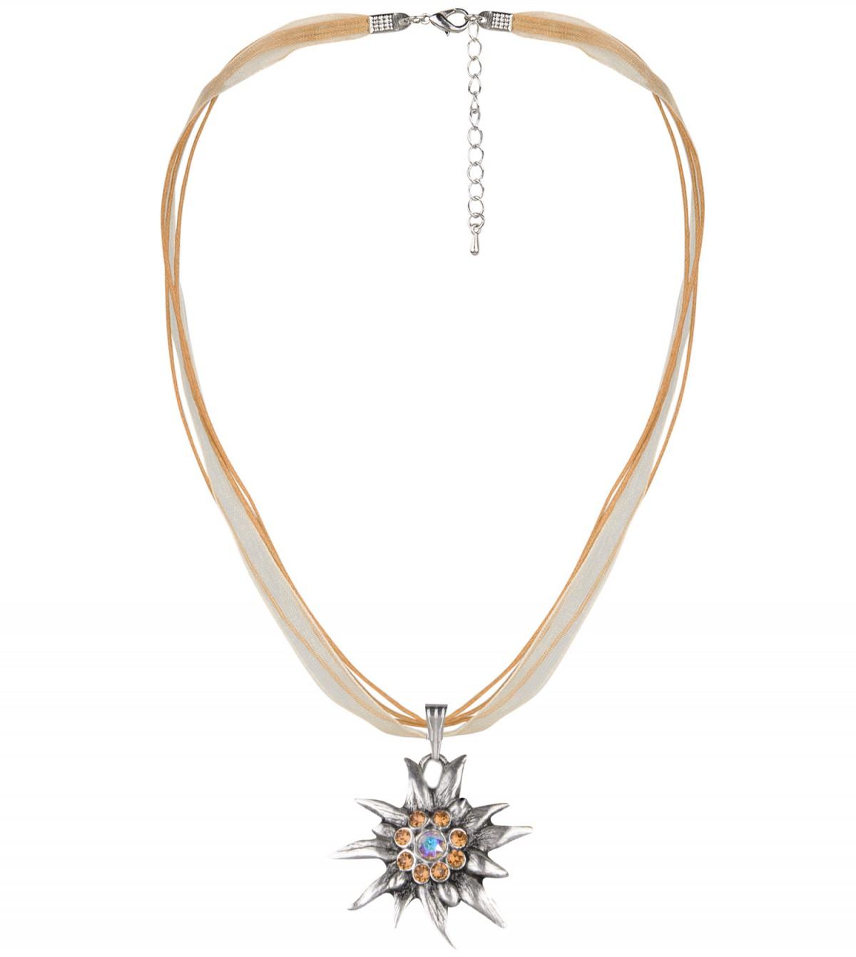 Halskette mit Edelweißanhänger in Beige von Schlick Accessoires günstig online kaufen