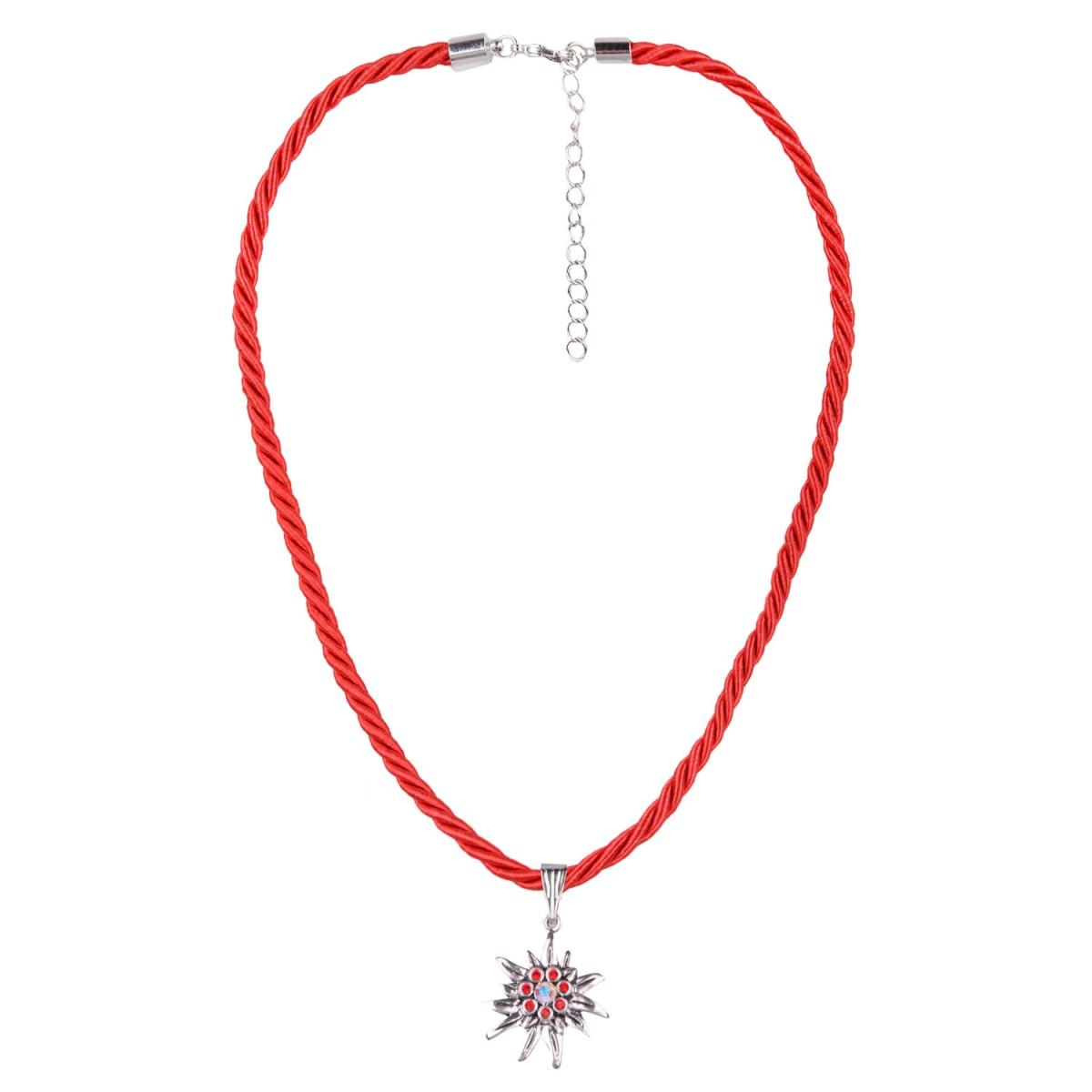 Kordelkette in Rot mit Edelweiß von Schlick Accessoires günstig online kaufen