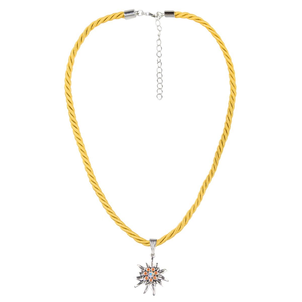 Kordelkette mit Edelweiß in Gelb von Schlick Accessoires günstig online kaufen
