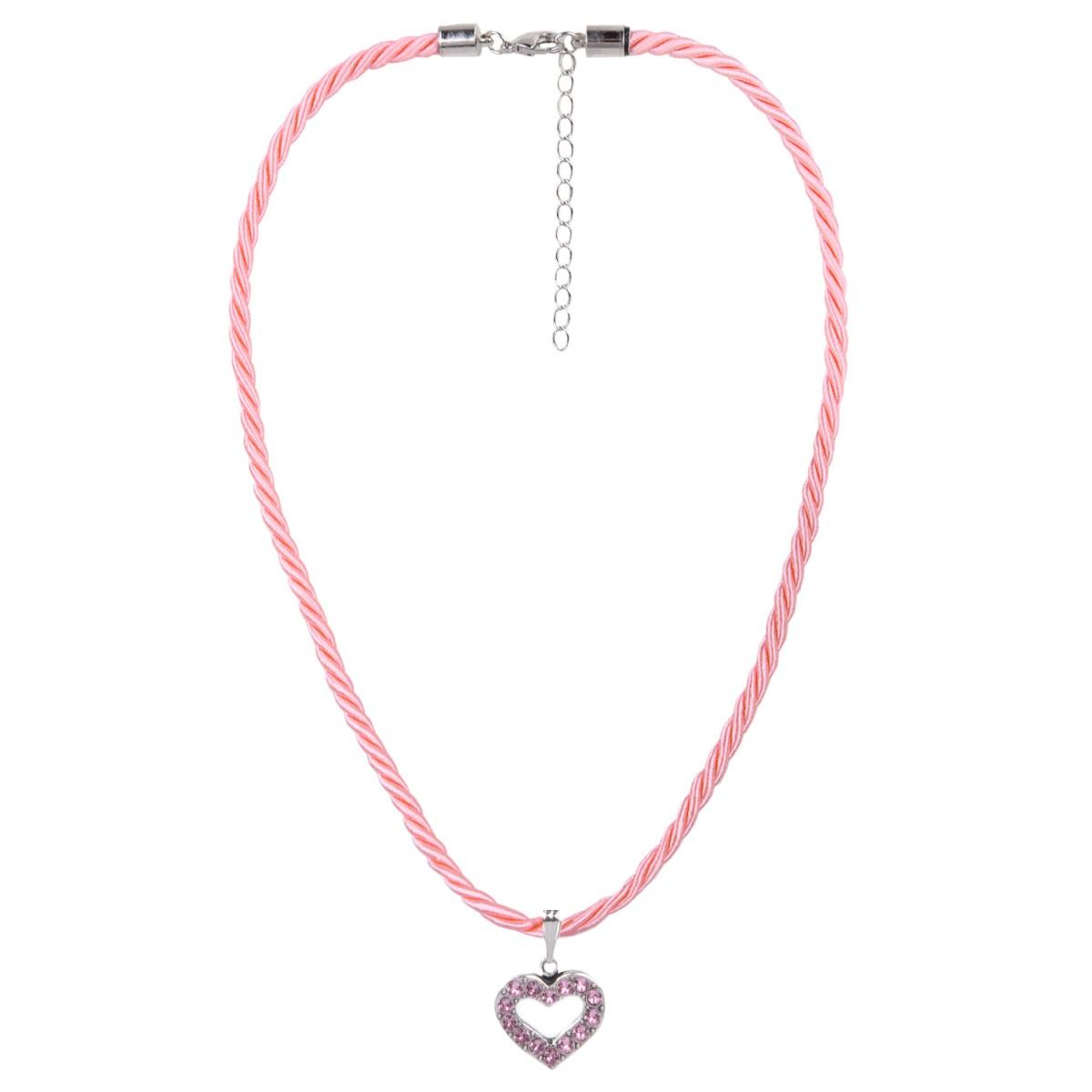 Halskette in Rosa mit Herzanhänger von Schlick Accessoires