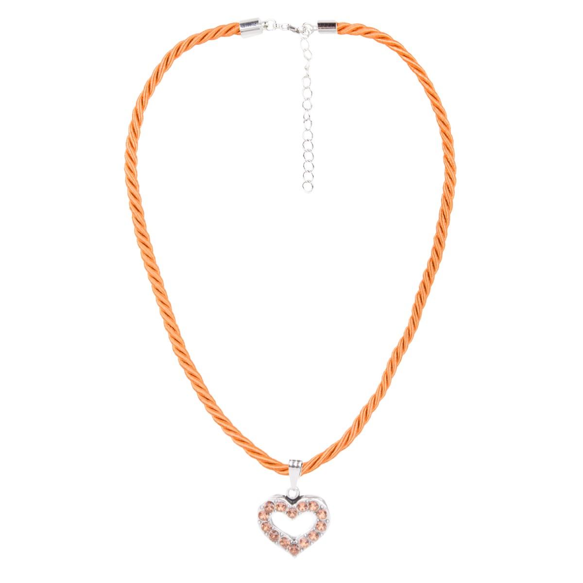 Halskette in Orange mit Herzanhänger von Schlick Accessoires günstig online kaufen