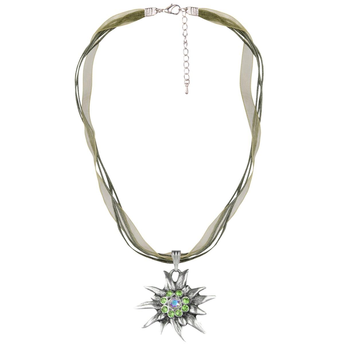 Halskette mit Edelweißanhänger in Grün von Schlick Accessoires günstig online kaufen