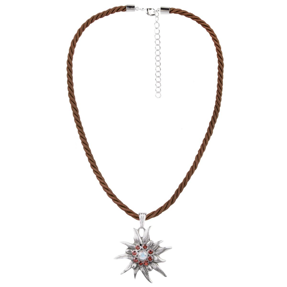 Halskette mit Edelweißanhänger in Braun von Schlick Accessoires günstig online kaufen