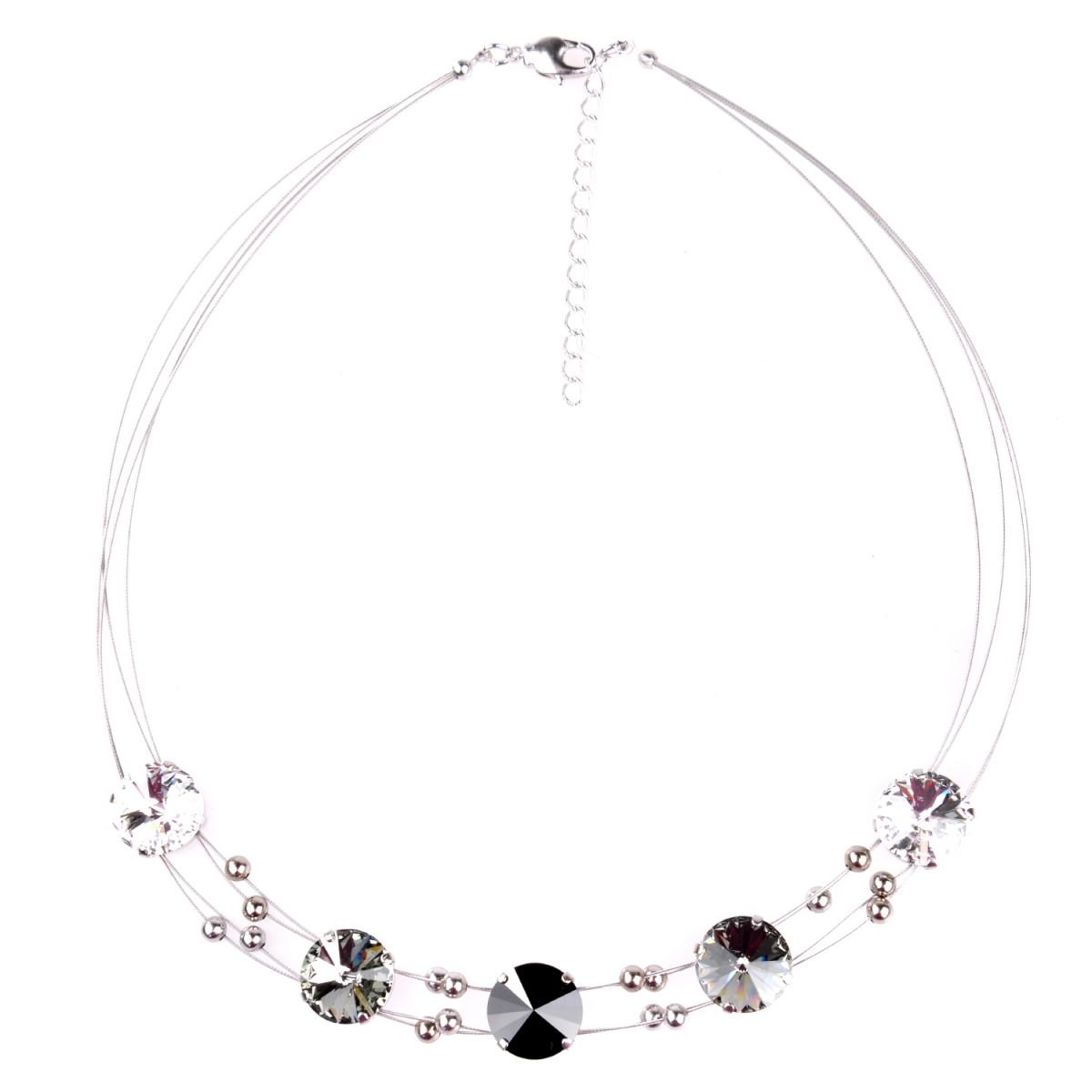 Halskette in Schwarz mit Swarovskisteine von Schlick Accessoires