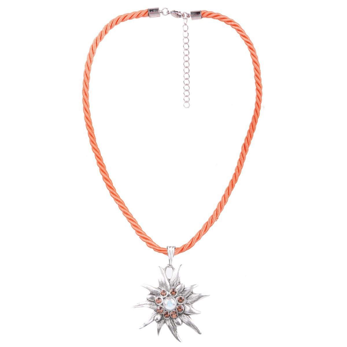 Halskette in Orange mit Edelweißanhänger von Schlick Accessoires günstig online kaufen