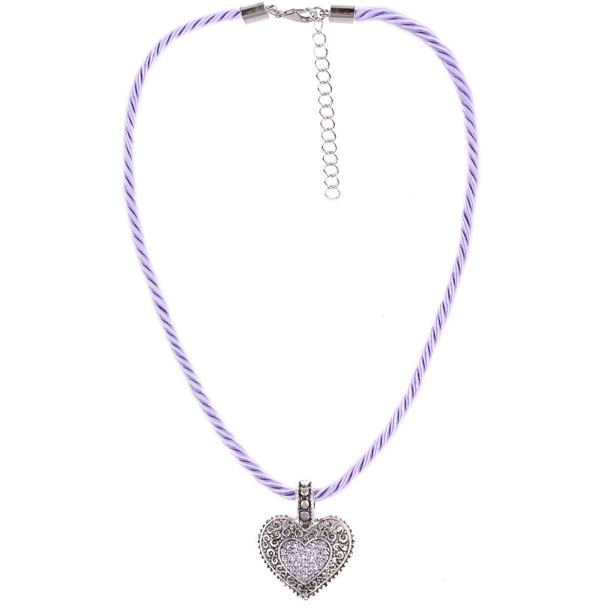 Kordelkette in Lila mit Herzanhänger von Schlick Accessoires günstig online kaufen