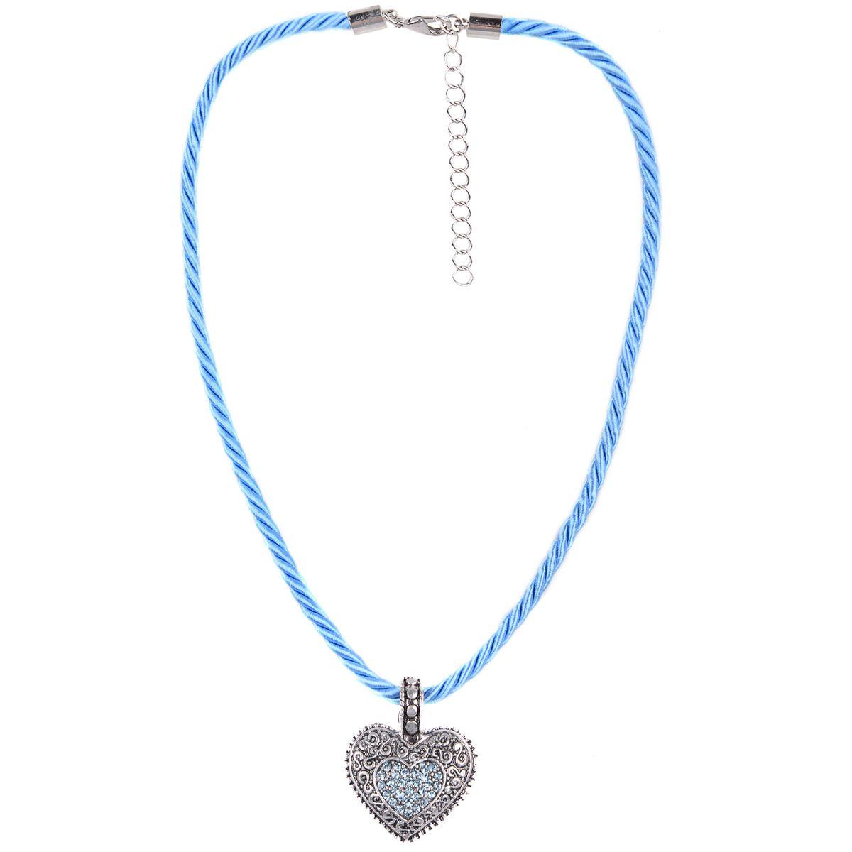 Kordelkette in Hellblau mit Herzanhänger von Schlick Accessoires günstig online kaufen