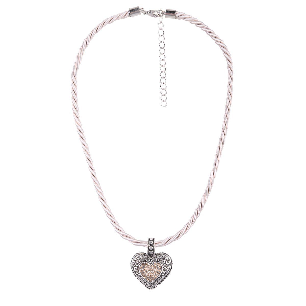 Kordelkette in Beige mit Herzanhänger von Schlick Accessoires günstig online kaufen