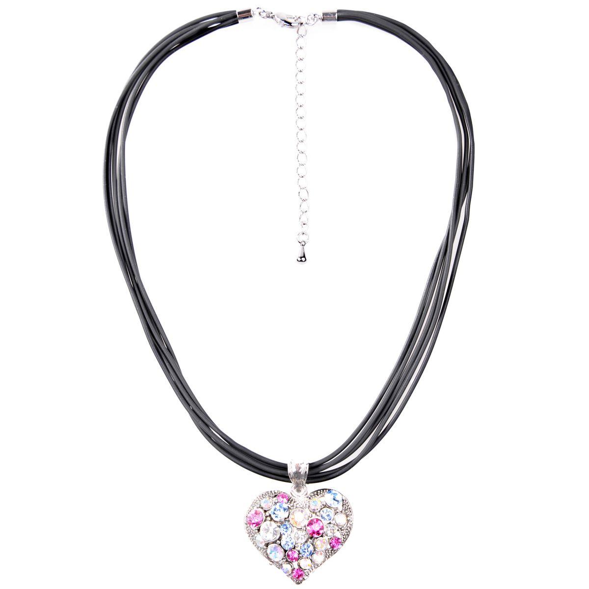 Halskette in Schwarz mit Herz in Pink,Blau von Schlick Accessoires günstig online kaufen