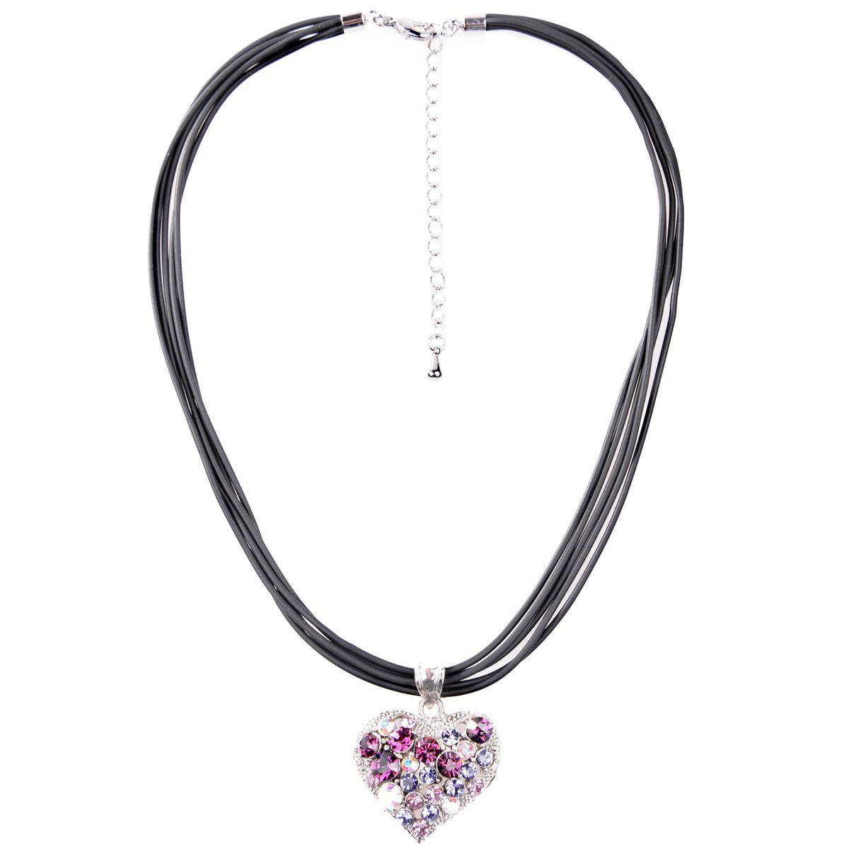 Halskette in Schwarz mit Herz in Lila von Schlick Accessoires günstig online kaufen