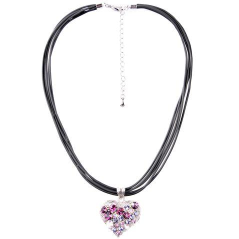 Halskette in Schwarz mit Herz in Lila von Schlick Accessoires