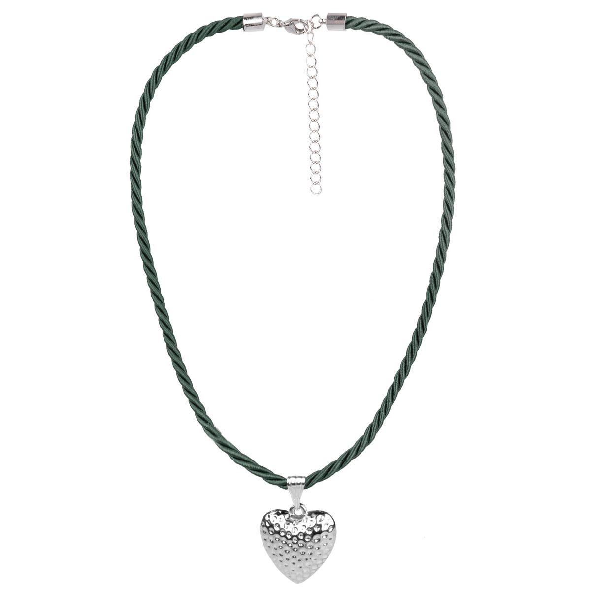 Kordelkette in Dunkelgrün mit kleinem Herz von Schlick Accessories