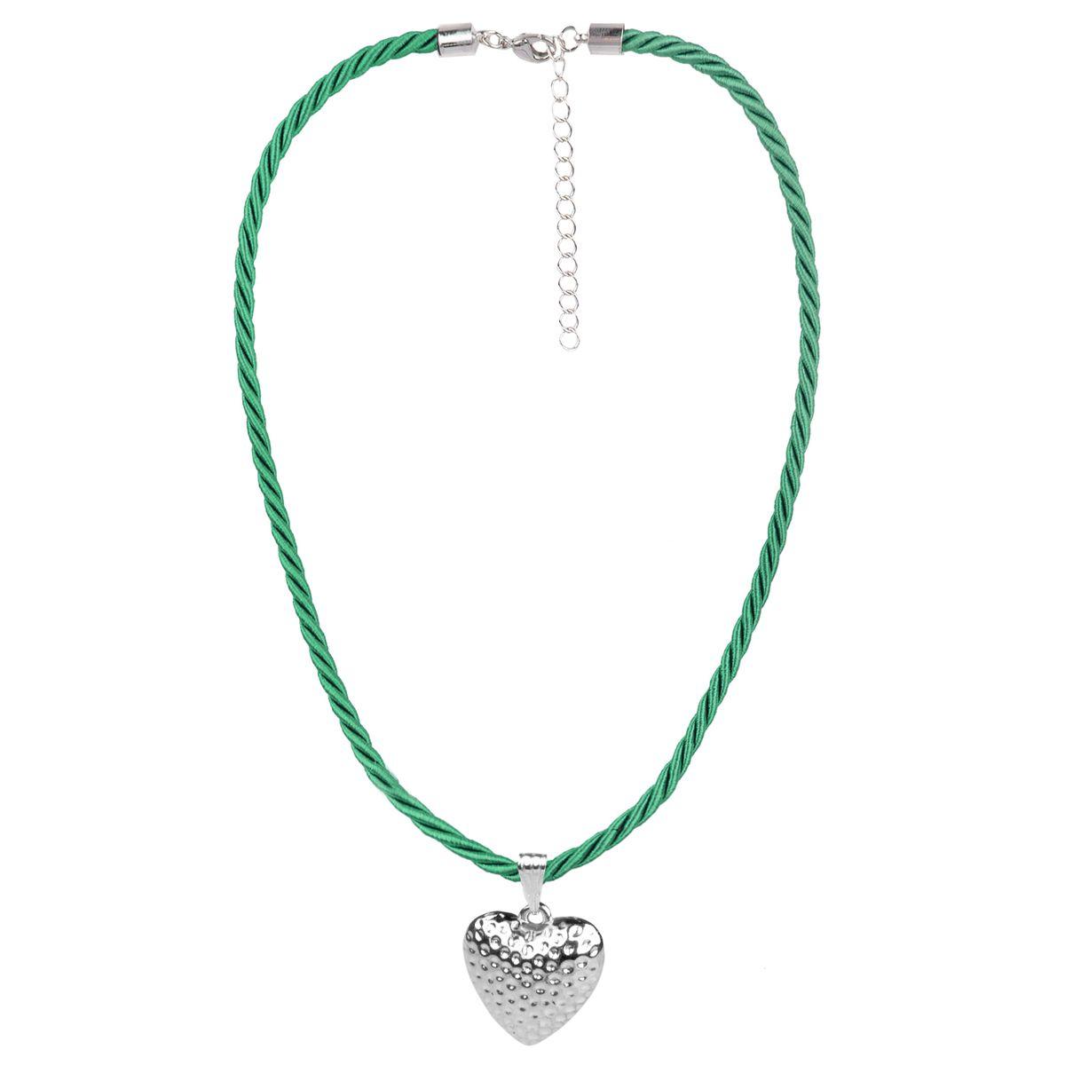 Kordelkette in Grün mit kleinem Herz von Schlick Accessories günstig online kaufen