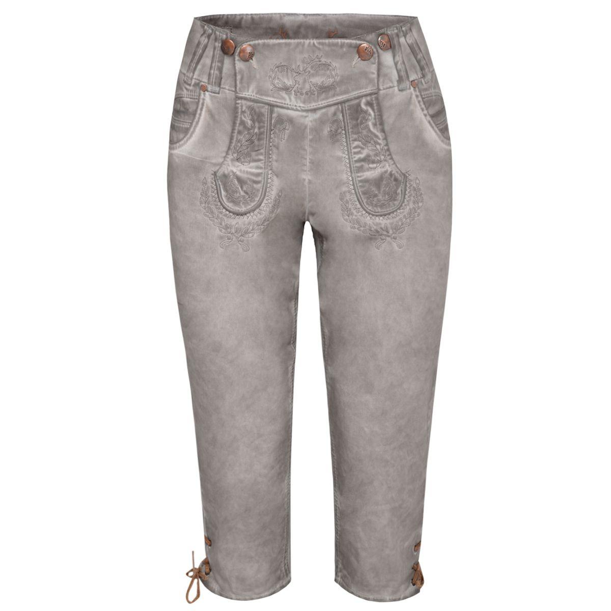 Jeans-Kniebundlederhose Nicole in Beige von Hangowear