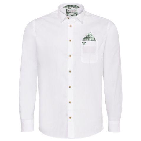 Trachtenhemd Body Fit Quirin zweifarbig in Weiß und Grün von Gweih und Silk